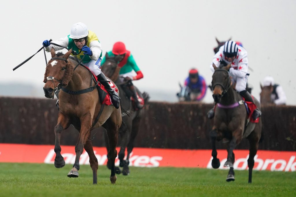 Cloth Cap ridden by Tom Scudamore clears the last to win The Ladbrokes Trophy Chase at Newbury Racecourse.