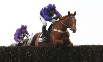 Mister Malarky and Robbie Power clear the last fence before winning The Sodexo Reynoldstown Novices? Steeplew Chase Race run at Ascot Racecourse.