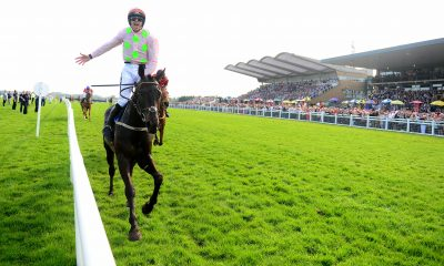 Burrows Saint ridden by Ruby Walsh celebrate winning the BoyleSports Irish Grand National Chase during day two of the Fairyhouse Easter Festival at Firehouse Racecourse, Ratoath