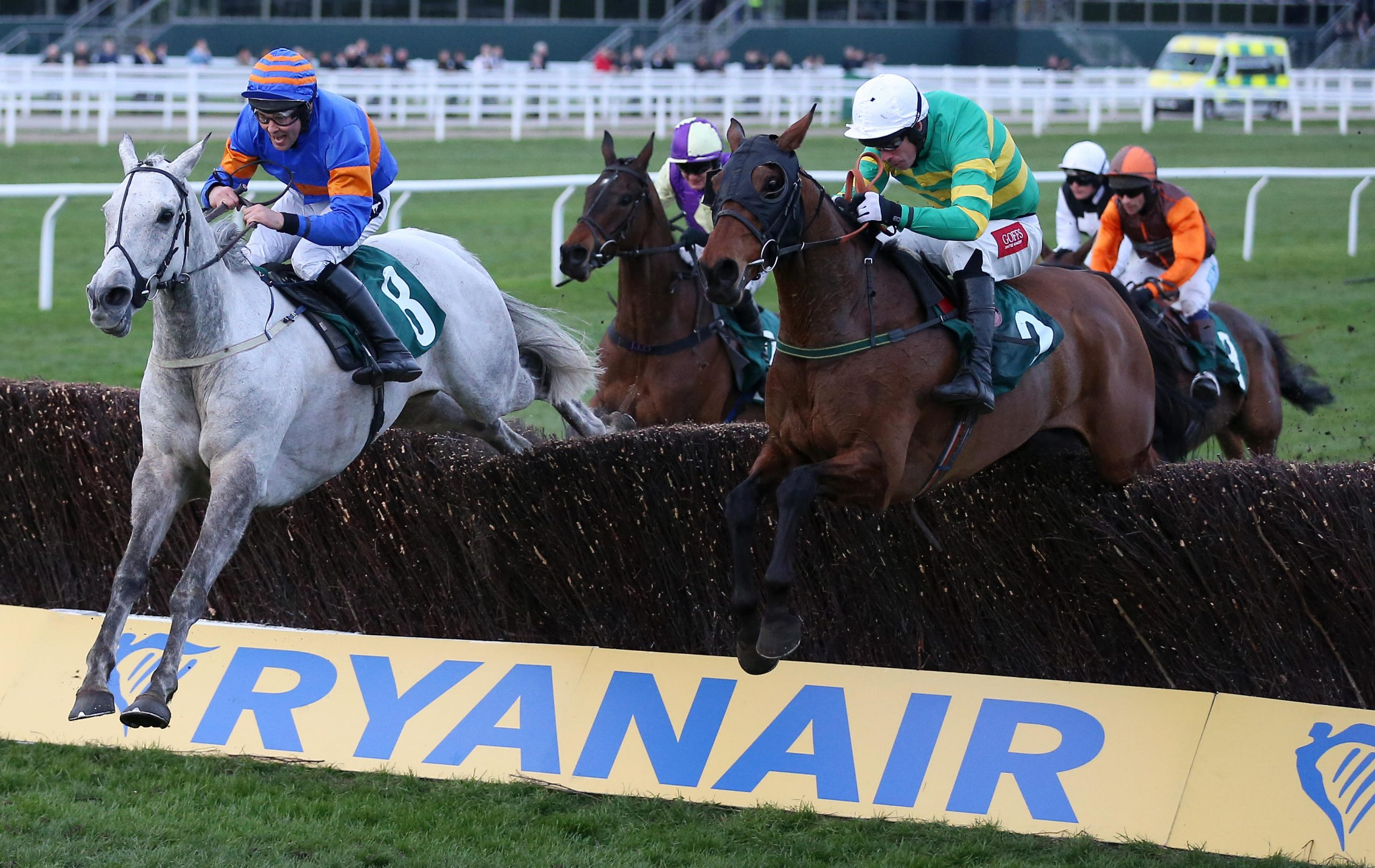Any Second Now and jockey Derek O'Connor (right) go on to win the Fulke Walwyn Kim Muir Challenge Cup Amateur Riders' Handicap Chase during St Patrick's Thursday of the 2019 Cheltenham Festival at Cheltenham Racecourse.
