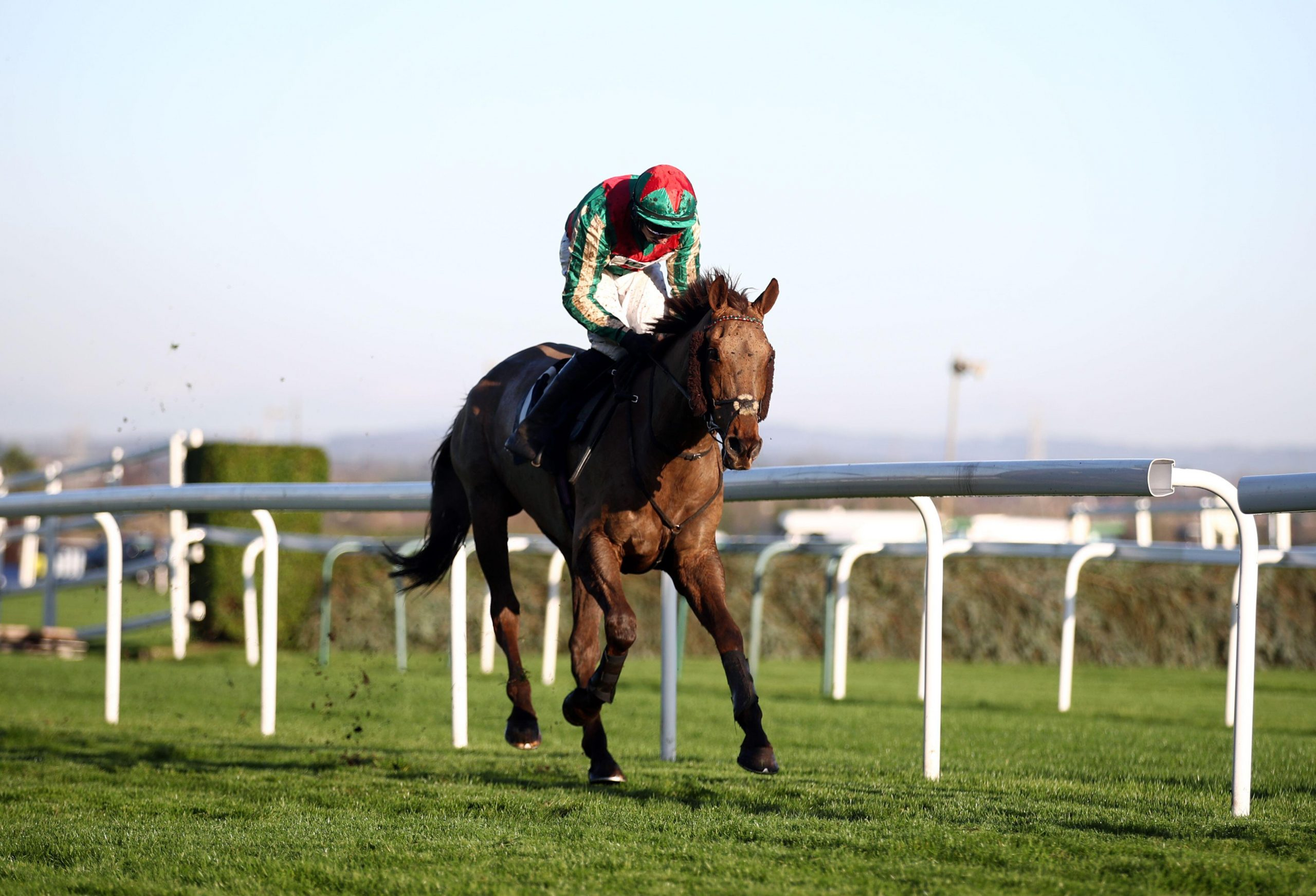 Vieux Lion Rouge ridden by Conor O'Farrell goes on to win the William Hill Becher Handicap Chase at Aintree Racecourse, Merseyside.