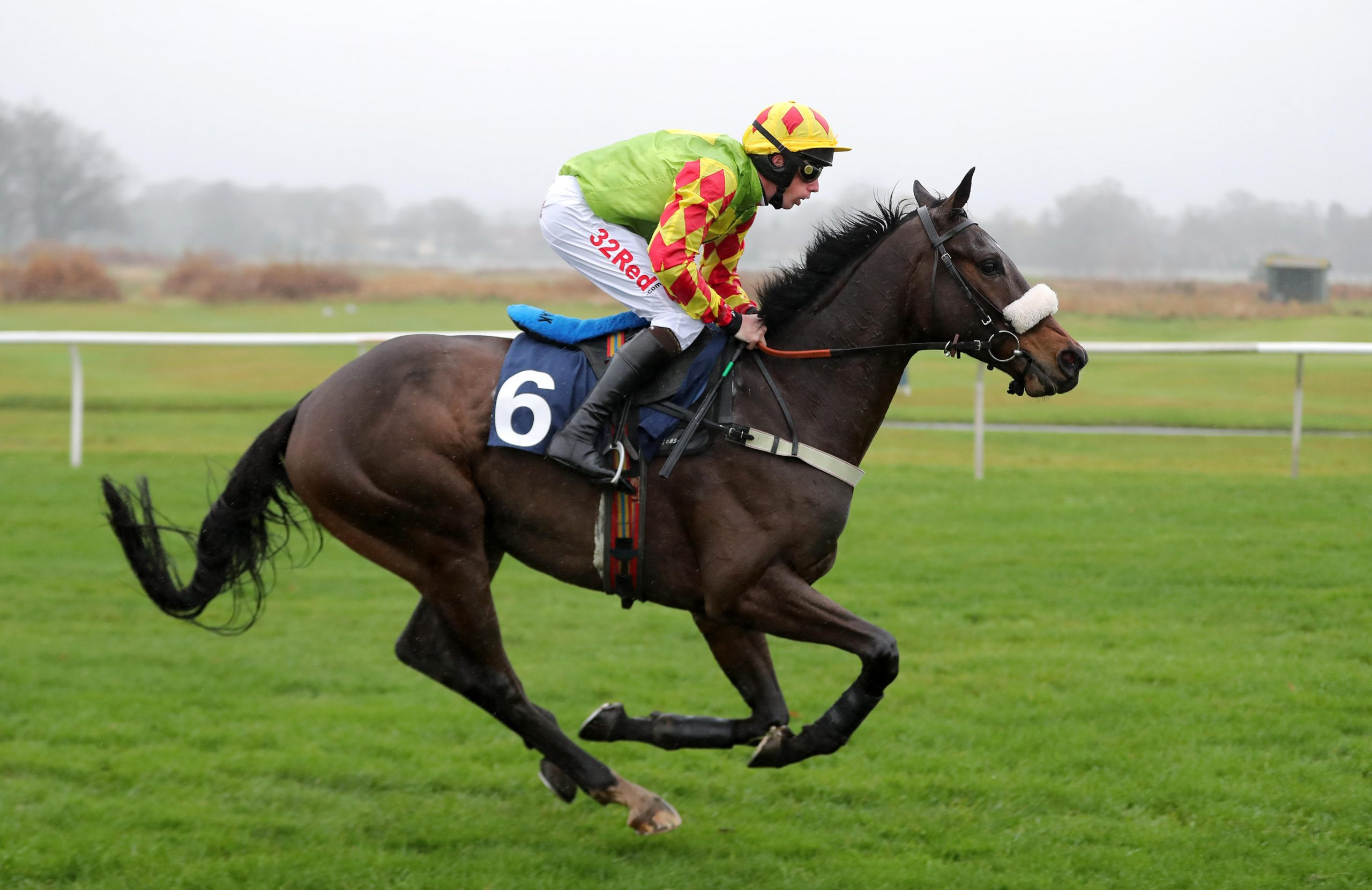 Lord Du Mesnil ridden by Alain Cawley in action during the Weatherbys Racing Bank 'The French Furze' Novices' Hurdle