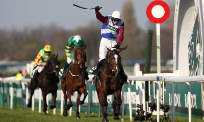 One For Arthur ridden by Derek Fox crosses the line to win the Randox Health Grand National on Grand National Day of the Randox Health Grand National Festival at Aintree Racecourse.