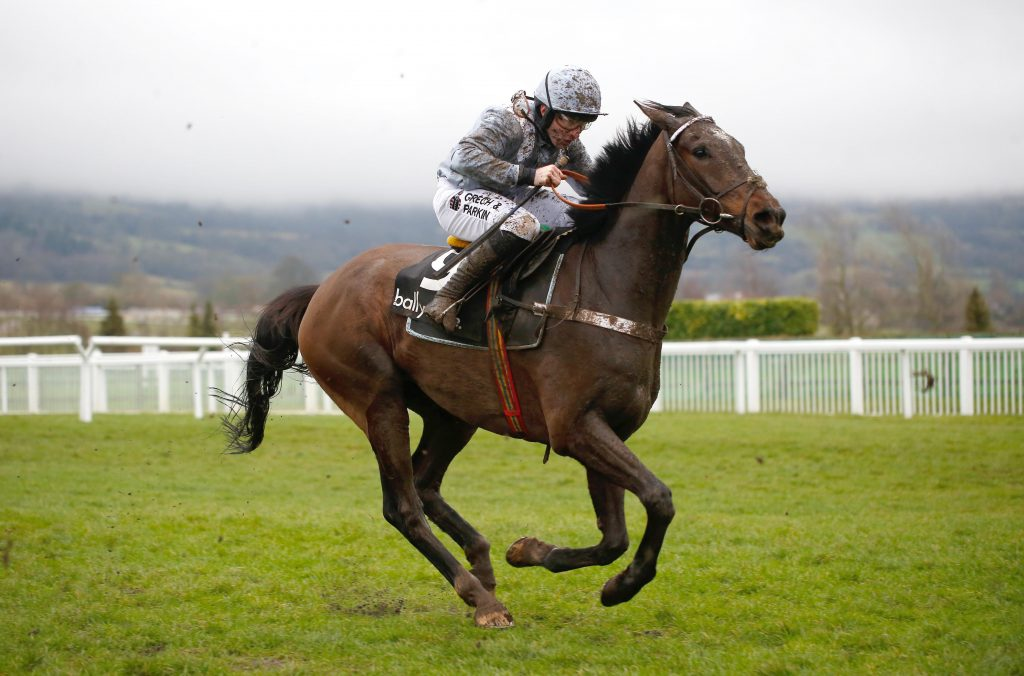 Santini and Jeremiah McGrath pulls away from the last flight before going on to win The ballymore Classic Novices' Hurdle Race run during Festival Trials Day at Cheltenham Racecourse.