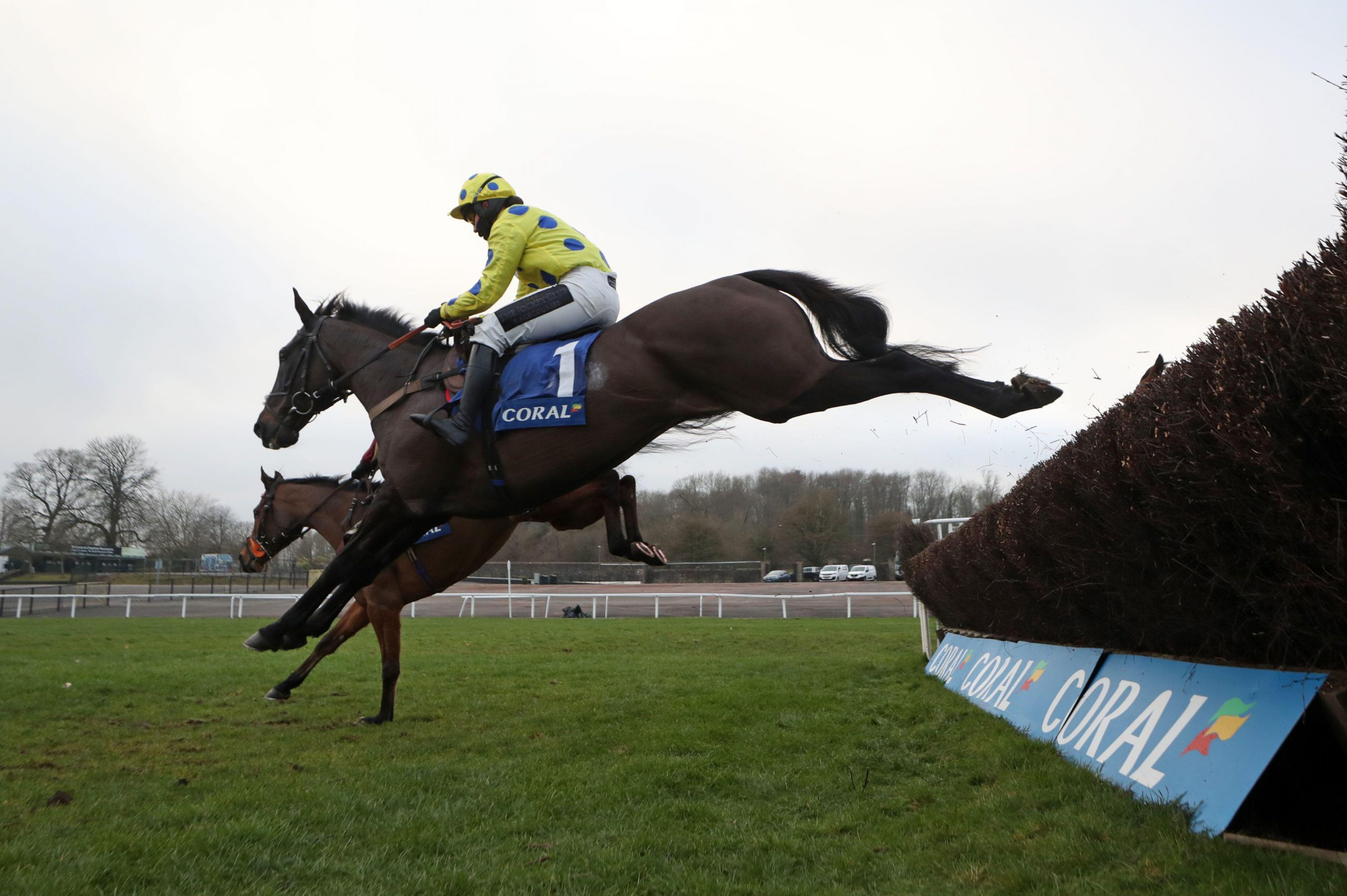Yala Enki and jockey Bryony Frost clears a fence during the Coral Welsh Grand National Handicap Chase at Chepstow Racecourse.