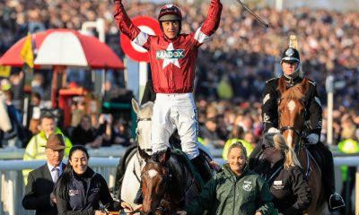 Aintree Racecourse, Aintree, UK. 6th Apr, 2019. The 2019 Grand National horse racing festival, day 3; Davy Russell acknowledges the applause of the crowd after winning the Grand National on Tiger Roll Credit: Action Plus Sports/Alamy Live News