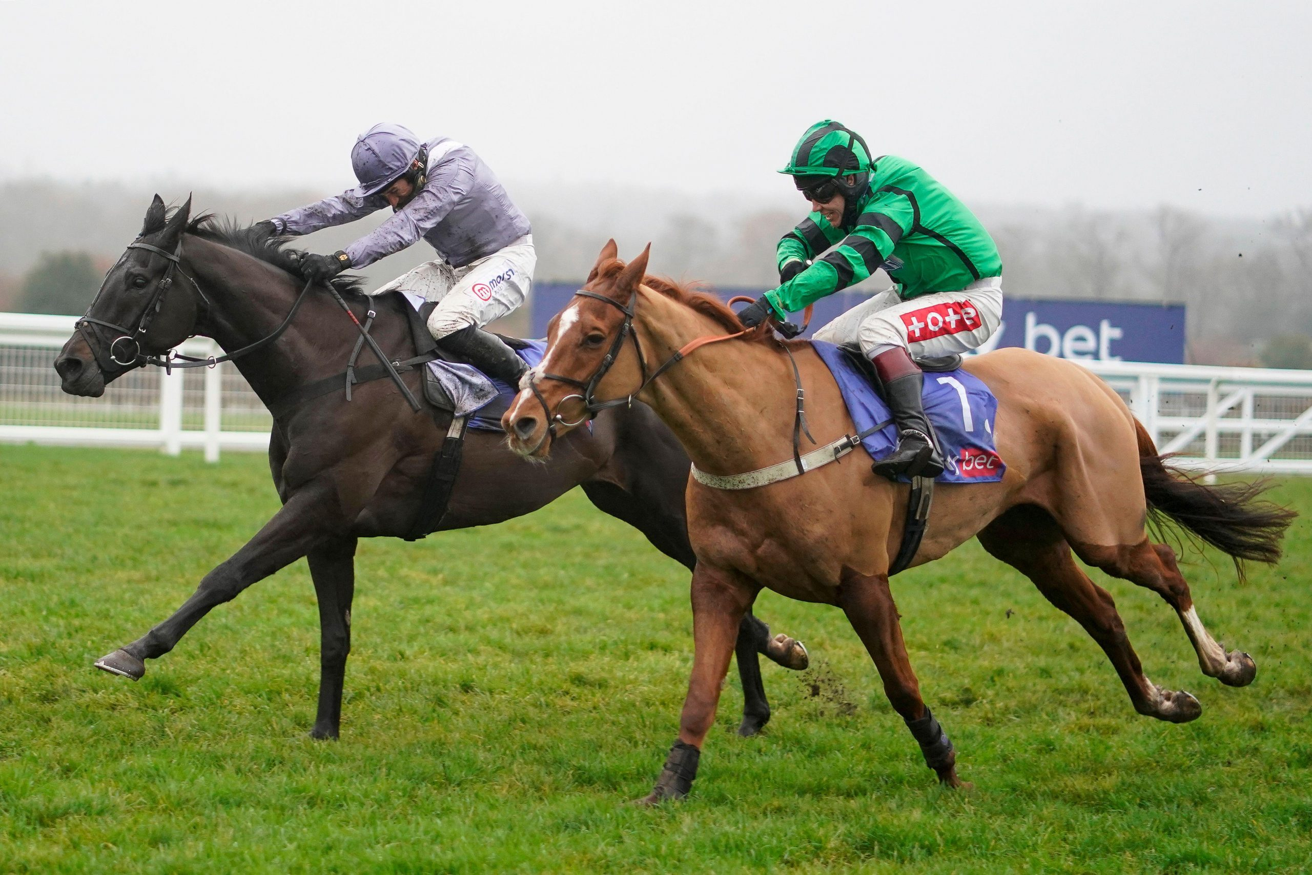Harry Skelton riding My Drogo (left) race clear to win The Sky Bet Supreme Trial Novices' Hurdle during the December Racing Weekend at Ascot Racecourse.