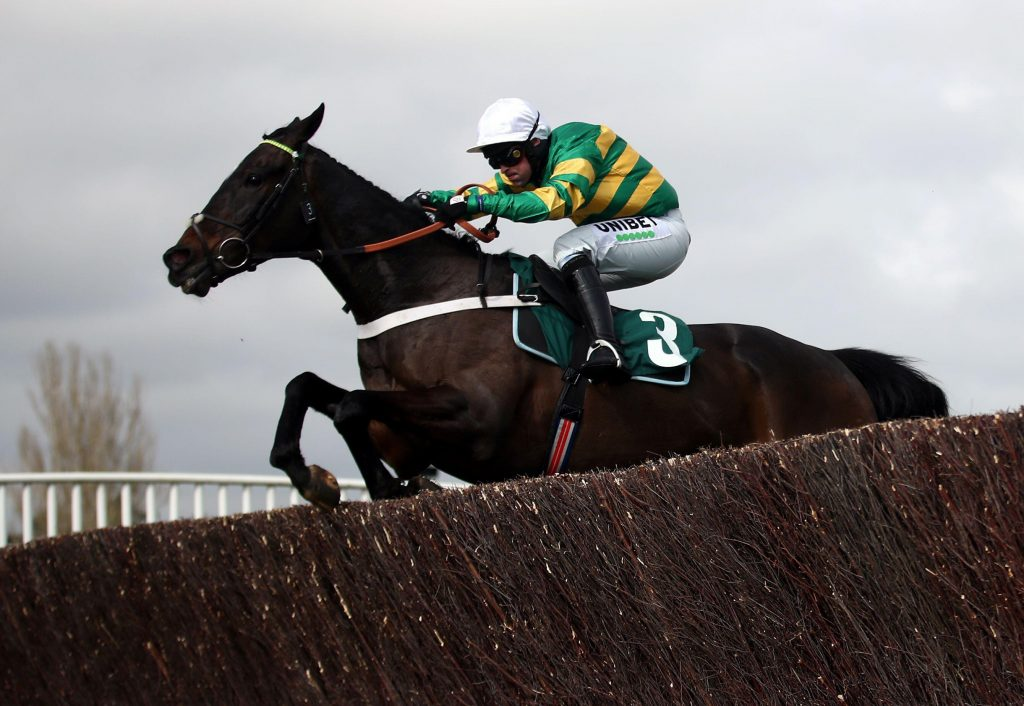 Chantry House and Nico De Boinville jump the last in the Marsh Novices' Chase at Cheltenham