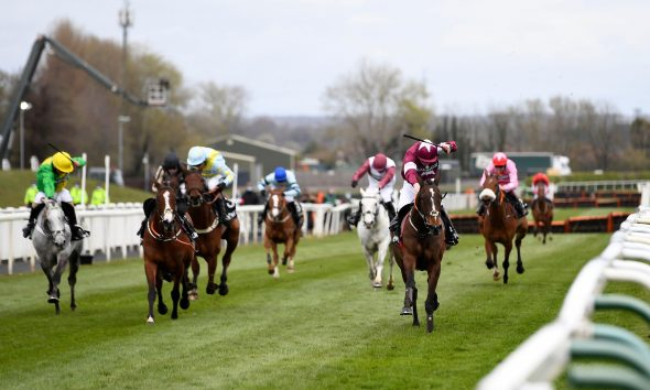 Horse Racing - Grand National Festival - Aintree Racecourse, Liverpool, Britain - April 8, 2021 Abacadabras ridden by J W Kennedy wins the 3:25 Betway Aintree Hurdle Pool via REUTERS/Peter Powell