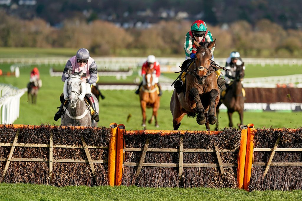 Tom Scudamore riding Adagio clear the last to win The JCB Triumph Trial Juvenile Hurdle at Cheltenham Racecourse. Picture date: Saturday December 12, 2020. See PA story RACING Cheltenham. Photo credit should read: Alan Crowhurst/PA Wire. RESTRICTIONS: Use