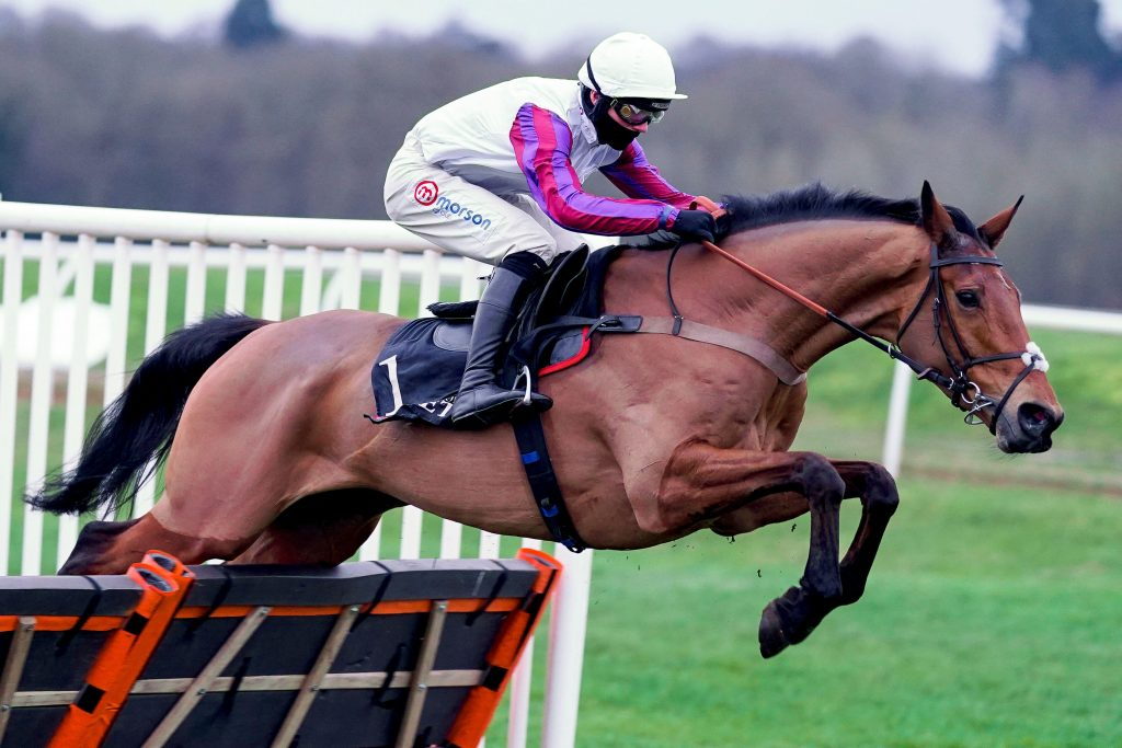 Bravemansgame ridden by Harry Cobden clears the last to win the MansionBet Challow Novices' Hurdle at Newbury Racecourse.