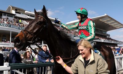 Tom Scudamore and Mr Big Shot at Aintree Racecourse after winning at the Grand National Festival