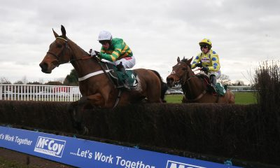 OK Corral ridden by Derek OO Connor lead Secret Investor ridden Harry Cobden over the last fence before winning The McCoy Contractors 2019 Construction news Awards bFinalist Hampton NovicesO Steeple Chase Race run at Warwick Racecourse.