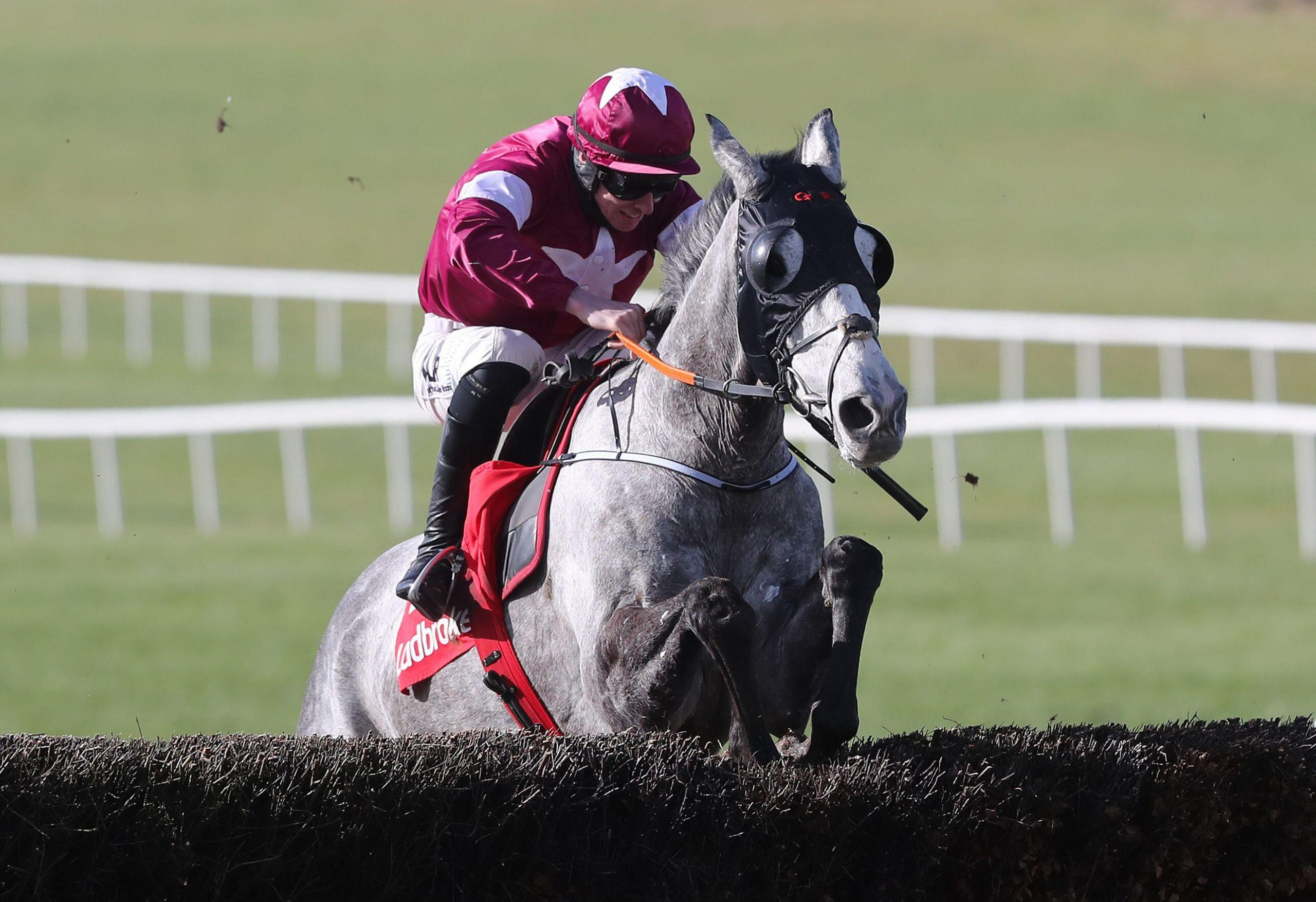Coko Beach ridden by Jack Kennedy jumps the last on the way to winning the Ladbrokes Watch Racing Online For Free Ten Up Novice Chase at Navan racecourse. Picture date: Sunday February 21, 2021.