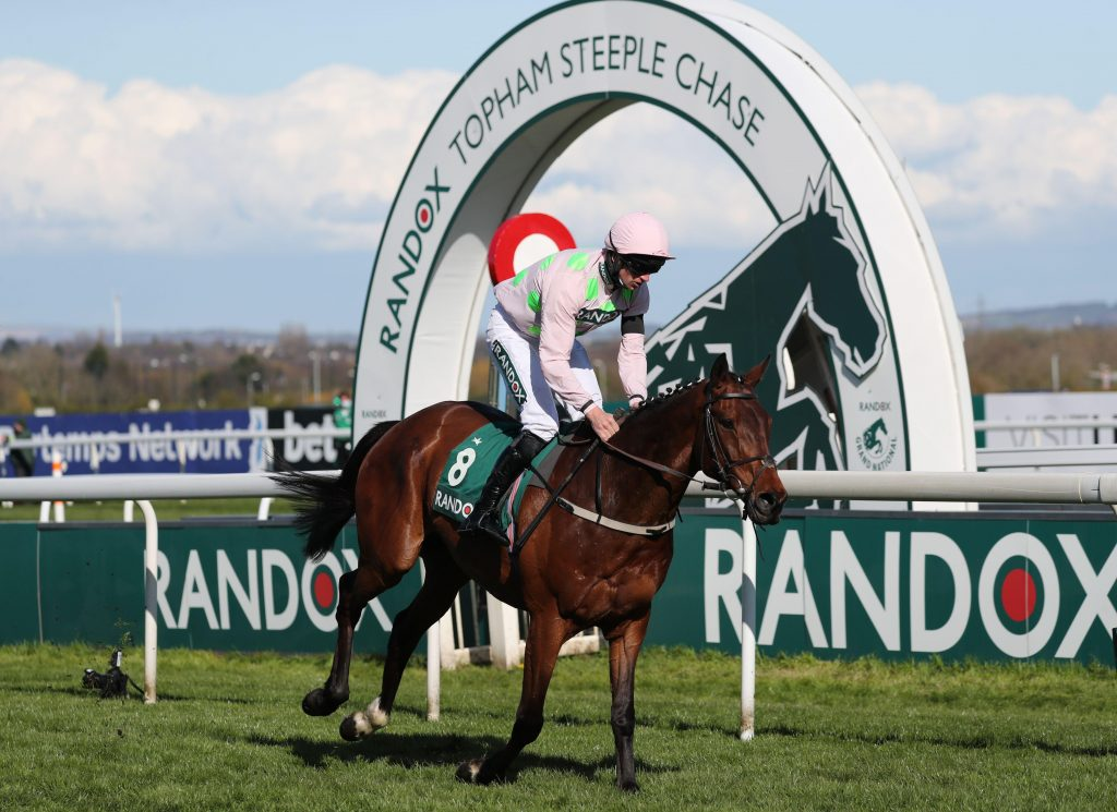 Horse Racing - Grand National Festival - Aintree Racecourse, Liverpool, Britain - April 9, 2021 Livelovelaugh ridden by Patrick Mullins win the 4:05 Randox Topham Handicap Chase Pool via REUTERS/Scott Heppell