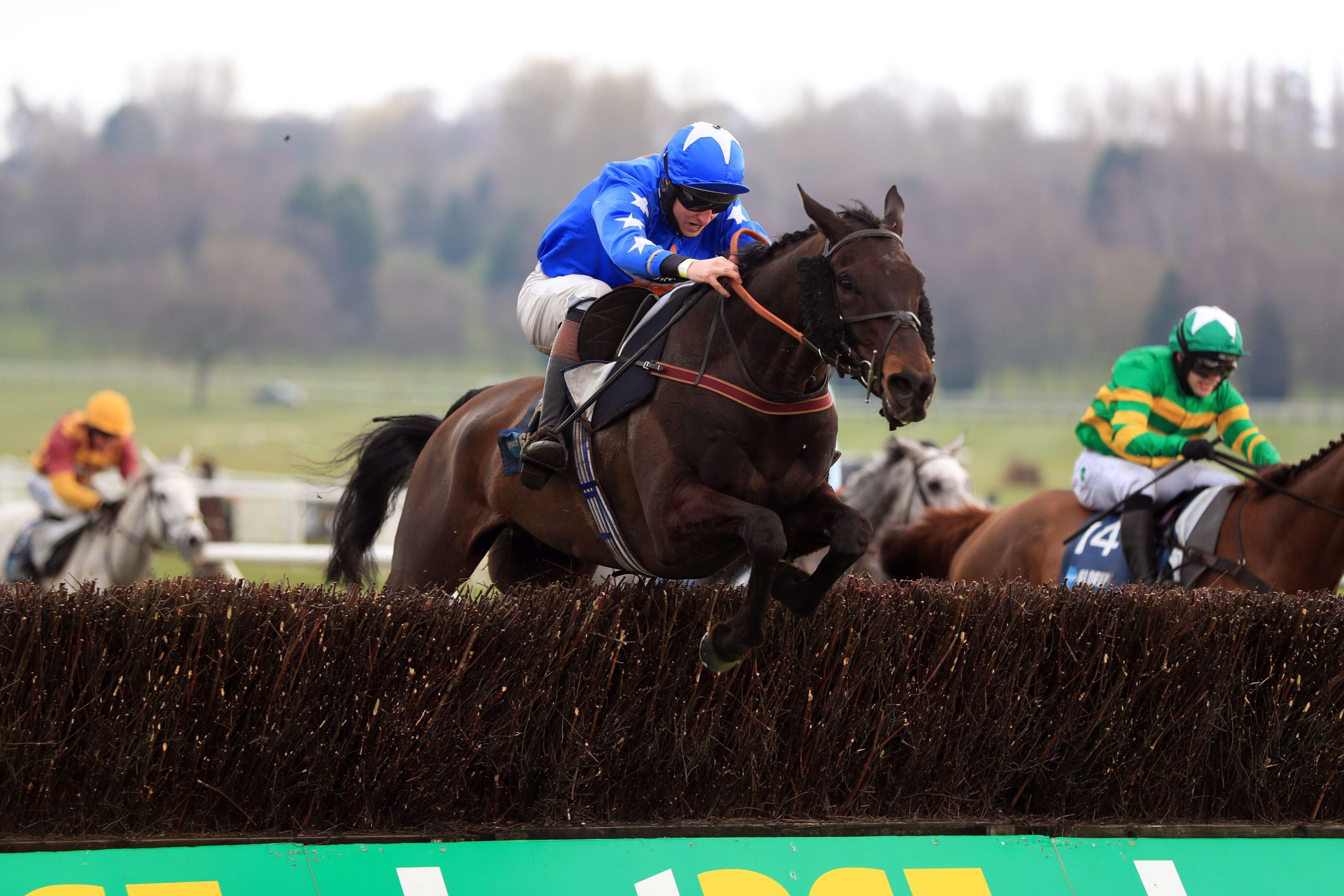 Mighty Thunder ridden by Blair Campbell during the Marston's 61 Deep Midlands Grand National at Uttoxeter racecourse. Picture date: Saturday March 20, 2021. See PA story RACING Uttoxeter. Photo credit should read: Mike Egerton/PA Wire. RESTRICTIONS: Use s