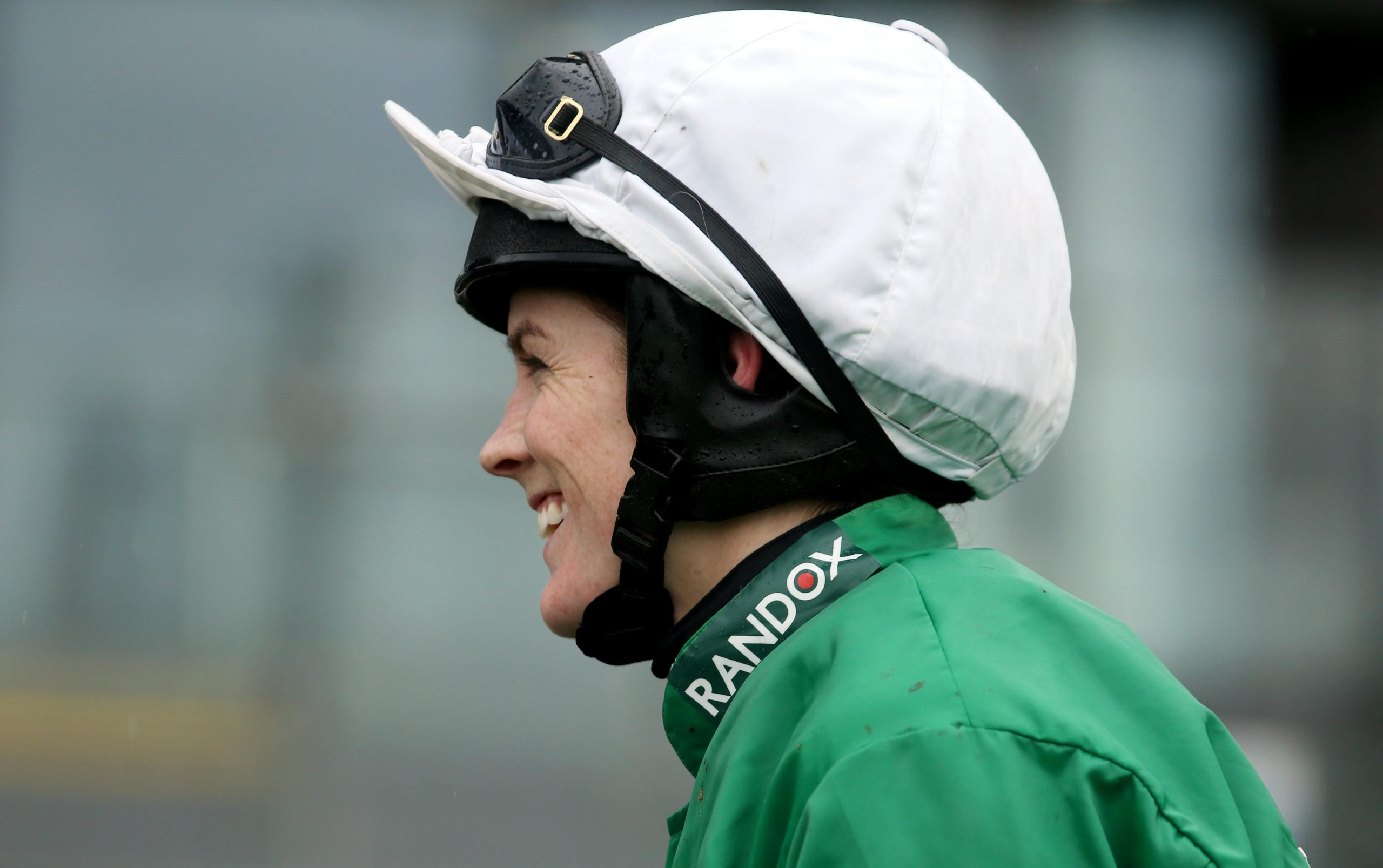 Jockey Rachael Blackmore celebrates winning the Close Brothers Red Rum Handicap Chase during Grand National Thursday of the 2019 Randox Health Grand National Festival at Aintree Racecourse.