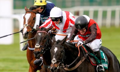 2F7M8WC Cat Tiger ridden by James King (right), Latenightpass ridden by Gina Andrews (centre) and Clondaw Westie ridden by Izzie Marshall compete in the Rose Paterson Randox Foxhunters' Open Hunters' Chase during Liverpool NHS Day of the 2021 Randox Health Grand National Festival at Aintree Racecourse, Liverpool. Picture date: Thursday April 8, 2021.