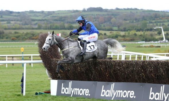 2FKEY2M Mister Fogpatches ridden by Danny Mullins on their way to winning the Colm Quinn BMW Group Handicap Chase during Day Five of the Punchestown Festival at Punchestown Racecourse in County Kildare, Ireland. Issue date: Saturday May 1, 2021.