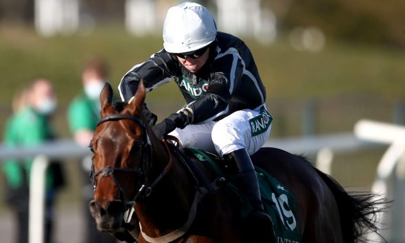 Rowland Ward ridden by Charlie Hammond on their way to winning the Pinsent Masons Handicap Hurdle during Ladies Day of the 2021 Randox Health Grand National Festival at Aintree Racecourse, Liverpool. Picture date: Friday April 9, 2021.