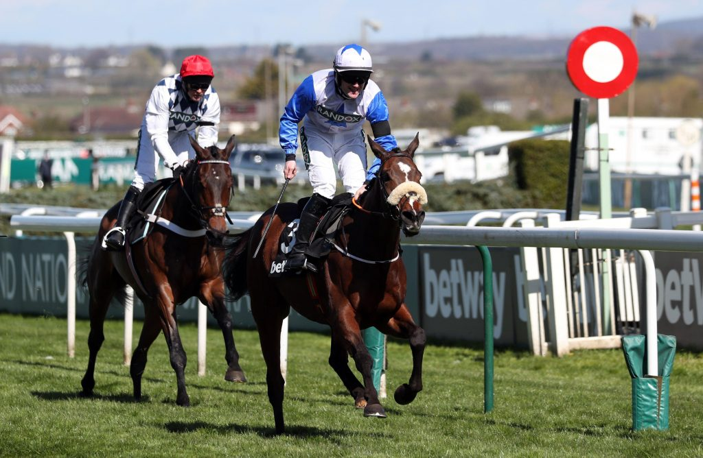 2F7PT8J Horse Racing - Grand National Festival - Aintree Racecourse, Liverpool, Britain - April 9, 2021 Belfast Banter ridden by Kevin Sexton wins the 2:20 Betway Top Novices? Hurdle Pool via REUTERS/Scott Heppell