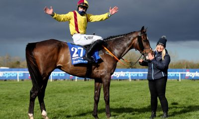Jockey Ricky Doyle and Freewheelin Dylan celebrate winning The BoyleSports Irish Grand National Chase during the 2021 Fairyhouse Easter Festival at the Fairyhouse racecourse, Ireland. Picture date: Monday April 5, 2021.