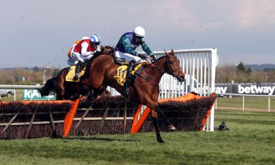 2F7XPJT Thyme Hill ridden by jockey Tom O'Brien clear a fence on their way to winning the Ryanair Stayers Hurdle on Grand National Day of the 2021 Randox Health Grand National Festival at Aintree Racecourse, Liverpool. Picture date: Saturday April 10, 2021.